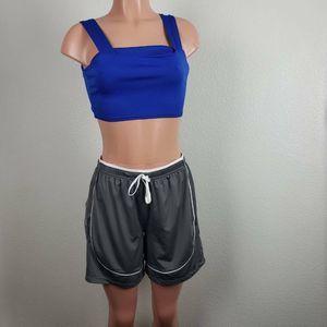 Athleta Womens Shorts Gray White High Rise Mesh  M